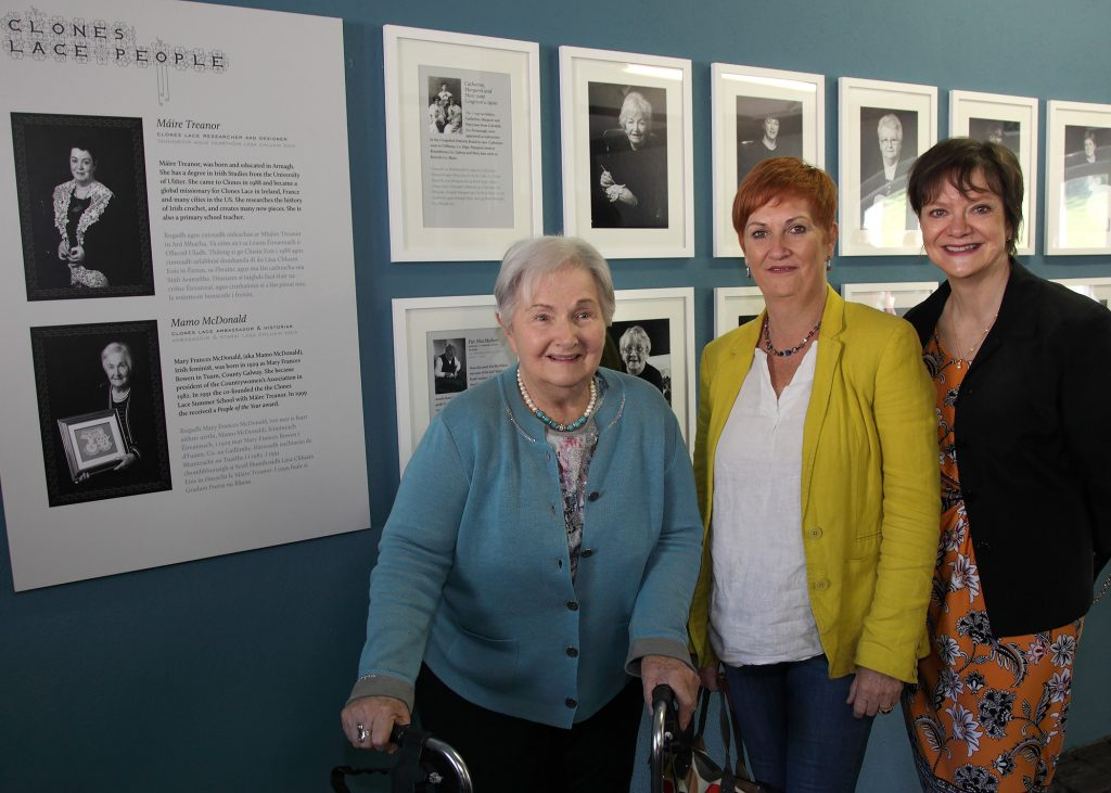 L/R Mamo MacDonald, Martina Beggan and Miriam Hamill. Martina Beggan is daughter of the late Mary Ellen Beggan, Roslea, who was a wonderful lace maker all of her life.