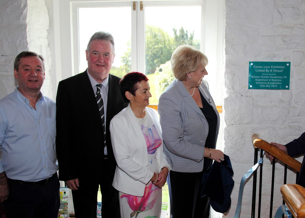L/R Clones Development Society Chairman Michael Dowds, Cllr. Pat Treanor, Manager Deirdre Kelly, and Minister Heather Humphreys